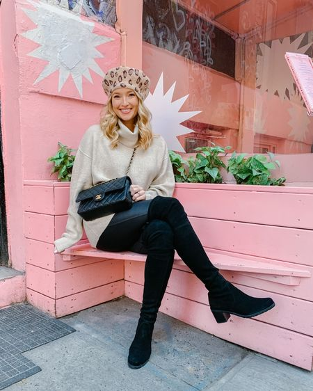 Faux leather leggings with OTK boots and an oversized sweater. This leopard beret was the finishing touch to elevate the look! Found the cutest place in NYC for brunch to fuel up for a little shopping during #NYFW http://liketk.it/2Kwtt #liketkit @liketoknow.it #LTKtravel #LTKstyletip
