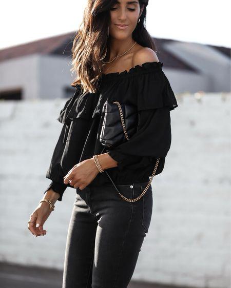 Date night style, black ruffle blouse, jeans, YSL crossbody bag, StylinAylinHome   #LTKstyletip #LTKSeasonal #LTKunder100