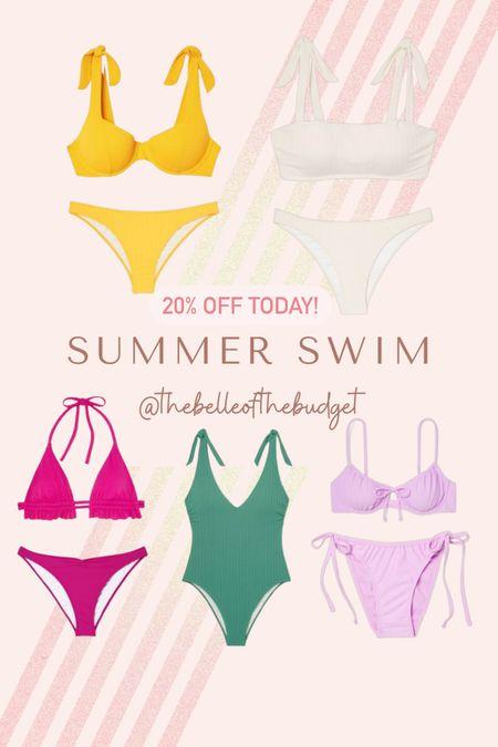 Summer swimsuits - one piece swimsuit & bikinis. All tts (size up in white bikini top). L in tie bottoms, XL in non tie options. On sale 20% off today!   #LTKswim #LTKunder50 #LTKsalealert