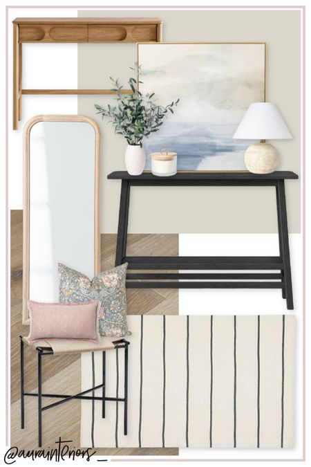 """Have you ever wanted a perfectly put-together, inviting, neutral entryway? I designed this space for a client that wanted her foyer to feel collected, but comfortable. Lots of affordable pieces from Target! 🎯   Shop my daily looks by following me on LIKEtoKNOW.it!! 🖤 http://liketk.it/38JJG #liketkit @liketoknow.it @liketoknow.it.home #LTKhome #LTKfamily   small entry, small foyer, small entry design, small foyer design, small entry ideas, entry ideas, foyer ideas, small entryway, neutral entry, neutral entryway, black console, cream black striped rug, black stool, black bench, small black bench, black bench entry, black bench mushroom, black stool entry, black stool mudroom, entry mood board, entry interior design, entry inspo, entry design, black cream entry, foyer mood board, foyer interior design, foyer design, foyer inspo, inviting entry, wood full length mirror, wood floor mirror, small black console, 40"""" console, neutral framed art, art console, mirror console, console styling, entry styling, console design, wood entry, small wood console, console drawers, open console, faux olive plant, faux olive tree, short olive tree, small olive tree, small olive plant, countertop olive plant, countertop olive tree, hallmark Malibu, balboa mist, striped 4x6 rug, 4x6 rug, entry rug, foyer rug, pillow combination, bench pillows, entry pillows, foyer pillows, mudroom pillows, entryway interior design, entryway mood board, entryway inspo, entryway design, entry console, entry bench, foyer console, foyer bench"""