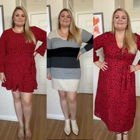 """Amazon dresses on a size 14, 5'9"""". Wearing a size XXL in the far left, XL in the other two.    #LTKstyletip #LTKunder50 #LTKcurves"""