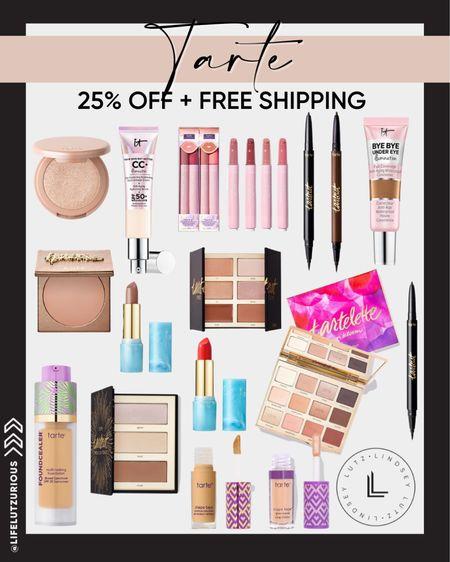 #LTKSALE - Tarte, 25% off plus free shipping. Fall makeup, skincare, skin routine, lipstick, blush, eyeshadow   #LTKbeauty #LTKunder50 #LTKSale