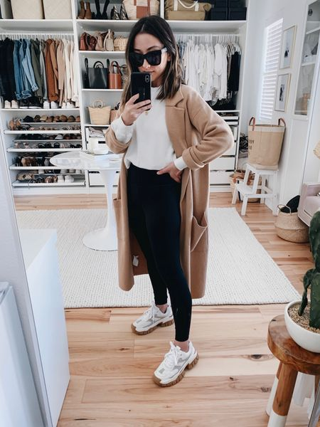 J.Crew Ella sweater blazer back in stock in a darker heather camel.   Blazer- J.Crew xxs Sweater- Anine Bing Leggings- Everlane xs Sneakers- Zara 5 (old) Sunglasses- Quay     #LTKshoecrush
