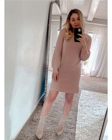 Blush sweater dress, Amazon finds, Amazon fashion, Steve Madden booties, tan boots, tan booties    http://liketk.it/3nJaJ @liketoknow.it #liketkit  #LTKshoecrush #LTKunder100 #LTKstyletip