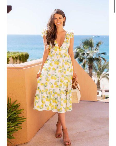 Lemon midi capri dress, Caitlin  Covington x pink Lily collab http://liketk.it/39MvY #liketkit @liketoknow.it #LTKstyletip #LTKunder100 #LTKtravel