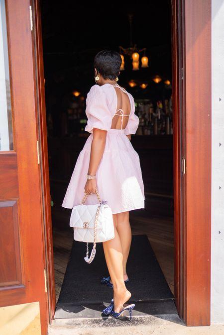 Summer dress  Brunch style White bag   #LTKSeasonal #LTKunder100 #LTKstyletip