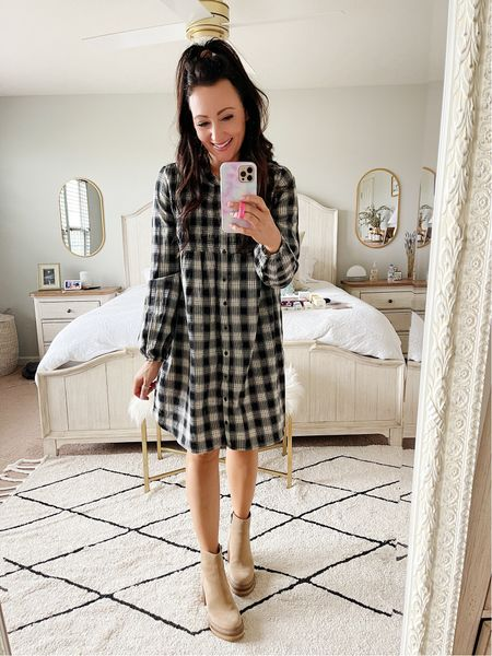 Plaid Target dress under $40 for fall! I'm in my true size small