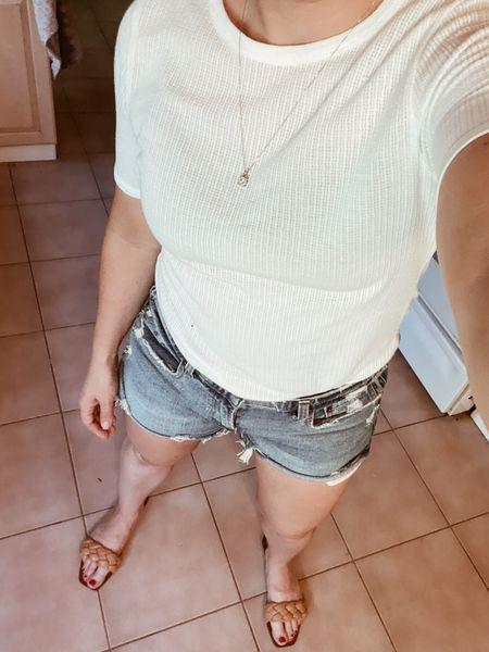 Classic summer look  #ltksummer #denimshorts #abercrombiedenim #whitetee  #LTKshoecrush #LTKstyletip #LTKSeasonal