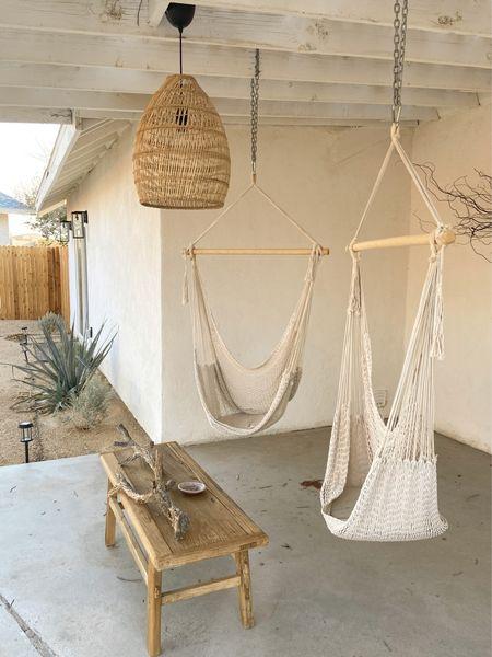 Pendant lighting, hammock swing, outdoor patio, patio furniture, boho decor   #LTKfamily #LTKhome #LTKsalealert