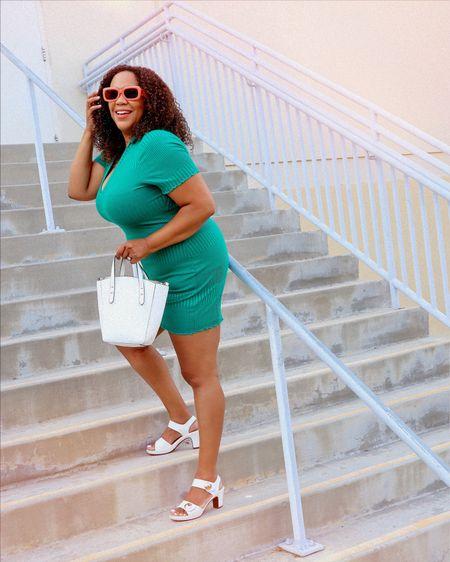 "A little summer retro vibe 😎… Getting dressed should be fun, right? Even if it's friggin hot! I looked up ""1960s summer fashion"" for the inspiration on @pinterest for this little get up. Do you ever look up an idea to put your outfit together or is it just me?   I edited these shots with the @tezzaapp & @acolorstory 🎨for a 60s aesthetic. I linked similar heeled sandals (with Velcro - yes!), sunglasses - the remind of 3D sunglasses 😎, and this mini dress in an xl - it's from @urbanoutfitters #uopartner #uocommunity  http://liketk.it/3k0ht #liketkit @liketoknow.it  ——————————————————————————— 🇩🇴 Un poco de ambiente retro de verano 😎… Vestirse debería ser divertido, ¿verdad? ¡Incluso si hace mucho calor! Busqué ""moda de verano de los 60"" en busca de inspiración en @pinterest para esta pequeña combinación. ¿Alguna vez buscaste una idea para armar tu atuendo o soy solo yo?  Edité estas fotos con @tezzaapp & @acolorstory 🎨 para una estética de los 60. Vinculé sandalias de tacón similares (con velcro, ¡sí!), Gafas de sol, que recuerdan a las gafas de sol 3D 😎, y este minivestido, use un xl, es de @urbanoutfitters #uopartner #uocommunity"