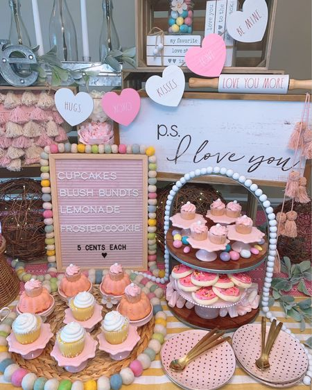 The Blossoming Bakery - a Twinkle Lights and Cornbread original design.   Create the most whimsical farmhouse display for your loved one filled with pink peonies, farmhouse wall decor, a beautiful tiered tray, a blush letter board, wooden heart garland and so much more!    http://liketk.it/3iMFK #liketkit @liketoknow.it