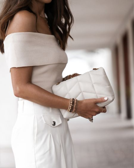 Wood beaded bracelets, 14k gold filled jewelry, off the shoulder top, StylinByAylin   #LTKstyletip #LTKunder100