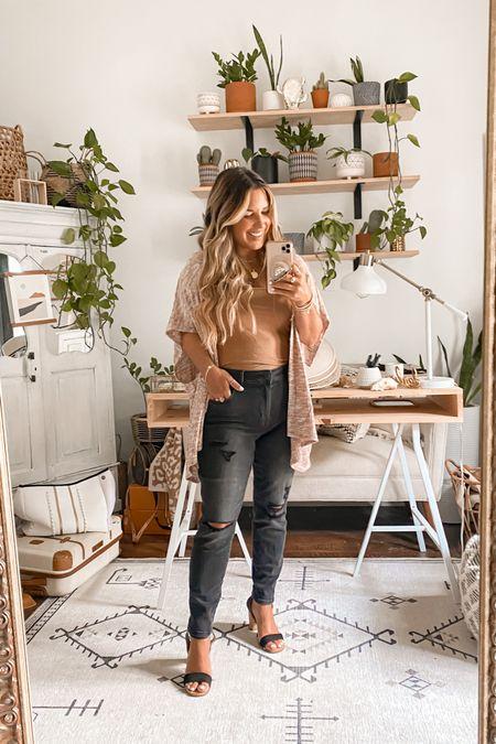 Black jegging jeans + poncho ~  Size medium xshort in jeans   #LTKstyletip #LTKfit #LTKunder50