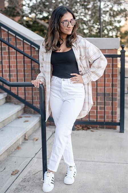 Casual layers for a day filled with errands! Love these white mom jeans from The Drop collection! Amazon fashion outfit idea!   #LTKstyletip #LTKunder100 #LTKunder50