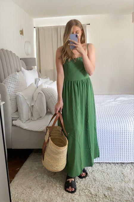 Amazon fashion, green maxi dress, good threads dress, green dress, summer dress, black sandals, straw tote @liketoknow.it #liketkit http://liketk.it/3lIT4 #LTKeurope #LTKunder50 #LTKstyletip