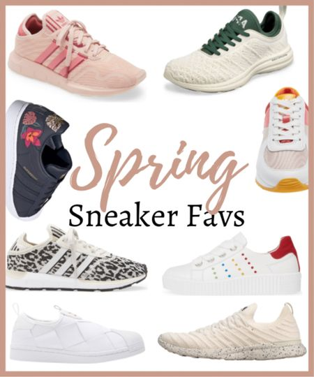 These are some of my favorite spring sneakers for 2021!   I love light colors sneakers for the most part but look at those black ones with the embroidery- amazing!  ✨✨✨✨ Spring shoes, spring sneakers, spring tennis shoes, athletic shoes, athletic fashion, spring fashion, spring style, athletic fashion, athletic clothes    #LTKSeasonal #LTKstyletip