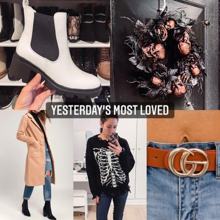 Yesterdays most loves includes a mix of fall fashion and spooky season: - black and white boots under $50 - Halloween front door wreaths - tan long coat under $100 - skeleton distressed sweater under $25 - designer inspired GG belt $20 with code LAURAC20   #LTKunder50 #LTKGiftGuide #LTKSeasonal