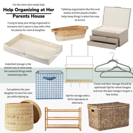 For the mom who needs help organizing her things at her parents house we've rounded up a few low cost but good looking accessories to slide into tiny places! Save space where you can and get stylish storage with lids for impromptu seating opportunities. #organization #homeorganization #kidroom #nsale   #LTKunder100 #LTKhome #LTKunder50