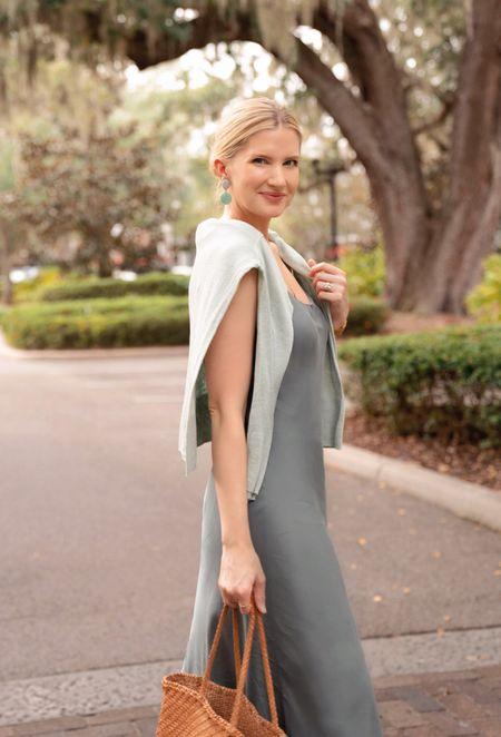 Green slip dress styling ideas  #LTKstyletip