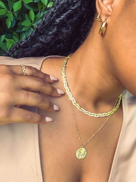 Golden layers always capture the golden hours vibes! Don't you love it when your jewelry highlights your skin?  Mixing new with old is so key for jewelry! So the new Carmel necklace mixing with some of my Gorjana faves seamlessly. The braided herringbone chain is stunning and elegant for day-to-night style. 💫  #LTKunder100 #LTKSeasonal #LTKstyletip
