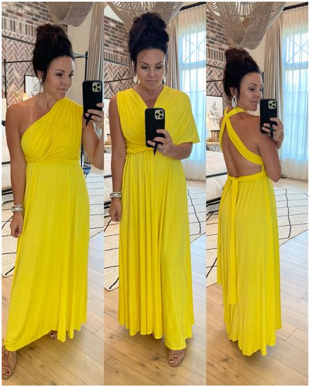 Amazon finds! Yellow dress  Super comfy and great price & can be worn a million ways! One dress- several styles.  Comes in a ton of colors   #LTKunder50