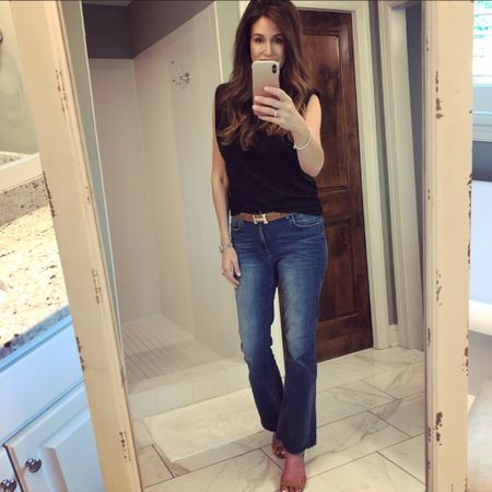 Some of you have told me that you still love your skinny jeans. I still love mine; I just don't wear them as much because there are so many other jean styles trending right now. If you want to try another jean silhouette, I recommend trying a straight leg or a kick flare which are both flattering on many different body types. 👖   You can instantly shop my looks by following me on the LIKEtoKNOW.it shopping app!  http://liketk.it/3h8Uo #liketkit @liketoknow.it #LTKstyletip   #fashionover40 #fashionover50 #casualstyle #midlifestyle #casualoutfitideas #styleover40 #styleover50 #overfiftyfashion #overfortyfashion #mnblogger #midwestblogger #momstyle #mylookoftheday #kickflarejeans #denimstyles #muscletee