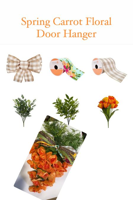 """http://liketk.it/39MjP #liketkit @liketoknow.it Here is everything you need to make this adorable Spring """"Carrot"""" floral door hanger! Easy and so cute!     #LTKSeasonal #LTKhome #LTKunder50 @liketoknow.it.home @liketoknow.it.family Follow me on the LIKEtoKNOW.it shopping app to get the product details for this look and others"""