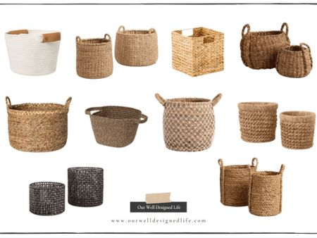 """Basket Round Up! Easy way to eliminate clutter and organize all The """"stuff"""" in your home that doesn't necessarily go with your aesthetic! Baskets are the perfect way to make your home look neat and tidy all the time & they're great for the kiddos; so easy to pull out and put back! Shop your screenshot of this pic with the LIKEtoKNOW.it shopping app @liketoknow.it @liketoknow.it.home @liketoknow.it.family #liketkit #LTKhome #LTKsalealert #LTKstyletip http://liketk.it/34rnl"""