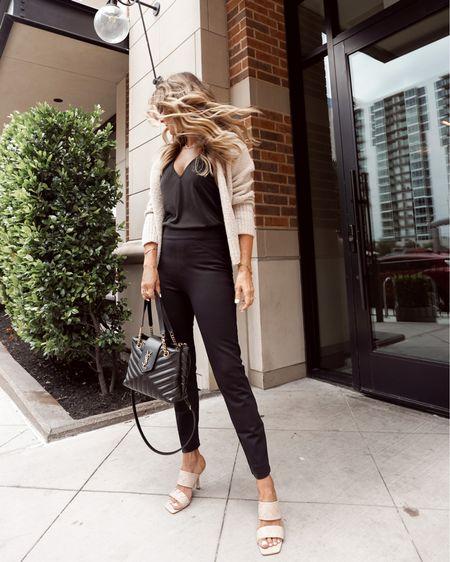 Spanx straight leg pants. Sz S Vince cropped cardi SZ XS  woven leather heels.  All on the Nordstom Anniversary Sale, her Fashioned Life   #LTKworkwear #LTKsalealert #LTKunder100