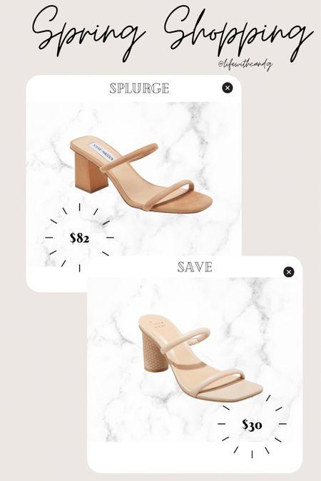 Heel sandals. Low block heel slip on sandals. Day to night spring and summer casual heel. 90s trend. Splurge vs save. Steve Madden. Target.    http://liketk.it/3dno3 #liketkit @liketoknow.it #LTKunder50 #LTKstyletip