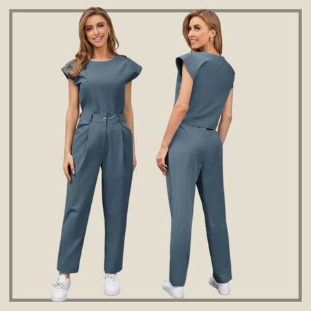Matching cap sleeve top with carrot pants  #LTKstyletip #LTKunder50