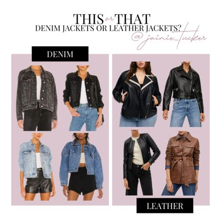What's your usual go-to in the fall if you're looking for a lightweight outerpiece? | #denimjackets #denimcoats #leatherjackets #motorjacket #fallouterwear #fallcoats #falljackets #JaimieTucker  #LTKSeasonal #LTKworkwear #LTKstyletip