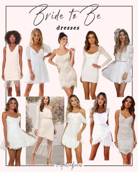 Bride to be dresses, White dresses, bachelorette party dresses, bridal shower dresses, engagement photo dresses, rehearsal dinner dresses  #LTKwedding #LTKunder100 #LTKstyletip #liketkit @liketoknow.it http://liketk.it/3jvB4