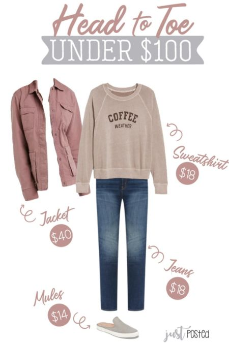 A head to toe under $100 look featuring this cute Coffee Weather sweatshirt! Finish the look with this pink utility jacket that is perfect for layering for fall!   Under $100 Fall Old Navy Women's fashion   #LTKstyletip #LTKSeasonal #LTKunder50
