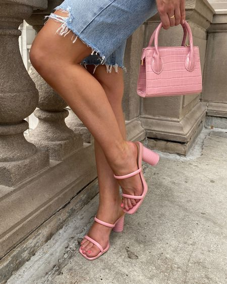 When your heels are cute AND comfortable 💖 @dolcevita #dolcevita   Strappy sandals, pink shoes, croc purse, summer sandals, summer shoes, pink summer, pink outfit, comfy shoes, pink handbag, look for less, amazon finds, amazon bag, handbag  #LTKunder100 #LTKstyletip #LTKshoecrush