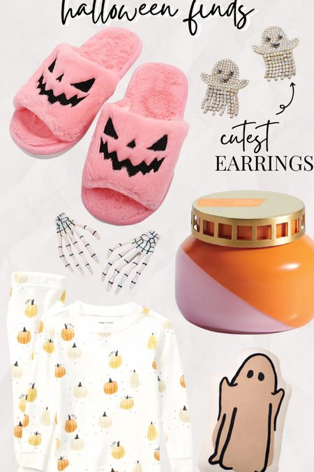 Halloween home decor And Amazon finds Halloween pjs jammies for kids Skeleton hair clips spooky Halloween accessories Ghost pillow Pumpkin face pink fuzzy slippers for fall   #LTKunder100 #LTKhome #LTKSeasonal