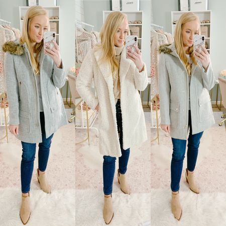 J. CREW COATS ARE FINALLY INCLUDED IN THE SALE! 30% off winter coats, and the factory parka is 50% off at $134. I'm wearing a chunky sweater underneath for sizing. The first is the classic J CREW parka and I sized down for a 2. It has a boxier fit through the body with a removable fur hood. In the middle is the teddy coat (comes in 5 colors). I sized down to a XS and I love the tailored fit compared to most teddy coats. The far right is the J CREW FACTORY parka coat which is not as warm, slightly smaller fur trim that's not removable. I'm also in the size 2. If you plan to wear bulky sweaters and have broad shoulders, I would order your normal size in the parka coats and it will have a bigger fit through the hips. If you plan to wear less bulky sweaters, I would size down in all the coats for a more flattering fit! http://liketk.it/2HdmY #liketkit @liketoknow.it #LTKsalealert #wintercoat #teddycoat #coatsonsale