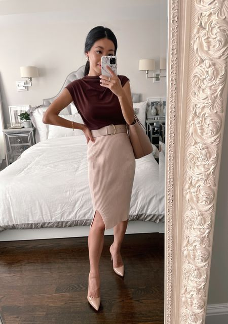 Business casual // women's office outfits for fall  •Edited Pieces skirt (coming soon!) •Ann Taylor top xxs •Manolo pumps 35.5 (also linked look for less) •H&M belt (old, linked similar) •H&M tote (old, linked similar)  #LTKstyletip #LTKworkwear #LTKSeasonal
