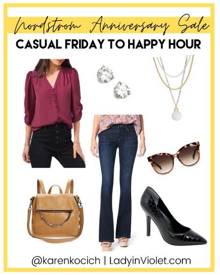 Nordstrom Anniversary sale / nsale / casual Friday work outfit / workwear / dark pink blouse / bootcut jeans / black heels / brown backpack purse / stud earrings / layered necklace    #LTKunder100 #LTKworkwear #LTKsalealert