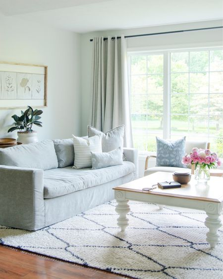 My living room design is so light and airy right now. I love these new pillows as they support women locally trying to lay roots here! And my Loloi area rug is so soft for summer. @liketoknow.it #liketkit http://liketk.it/3h54I @liketoknow.it.home #LTKhome #LTKunder100 #LTKunder50 #pillows #livingroom #arearug #summerdecor