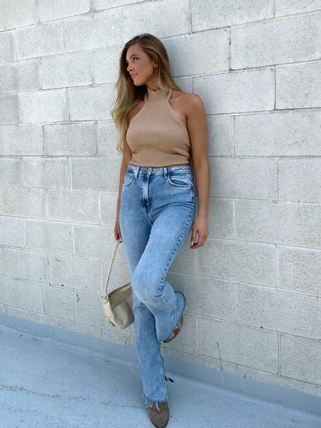 neutral fall style, fall outfits, revolve fashion, House of Harlow by a Nicole Richie knit camel halter top, split hem jeans, cream baguette bag, street style   #LTKHoliday #LTKstyletip #LTKSeasonal