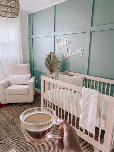 loveeee watching the morning sunlight come in Hudson's nursery on this beautiful Sunday morning! ☀️ 🌊🤍  #LTKhome #LTKbaby