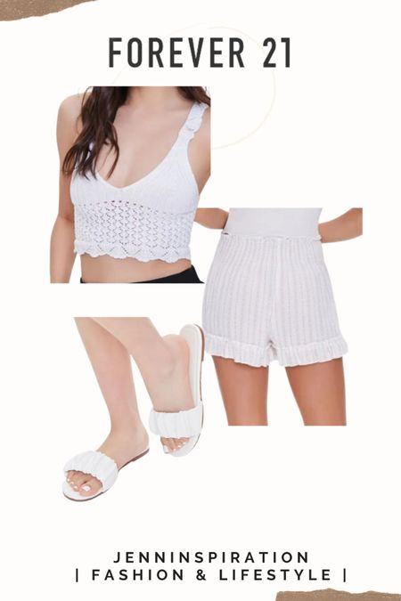Forever 21 ✨LTK DAY SALE✨   Crochet lace up crop top  Ruffle trim shorts Faux leather ruched sandals  summer, summer sale, summer outfits, summer time, beach day, casual day, girls night out, date night, cute, trendy, aesthetic, soft girl, picnic, travel, spring time, easy to wear, crop top skirt set, forever 21 sale http://liketk.it/3hsWo #liketkit @liketoknow.it #LTKtravel #LTKstyletip #LTKsalealert You can instantly shop all of my looks by following me on the LIKEtoKNOW.it shopping app