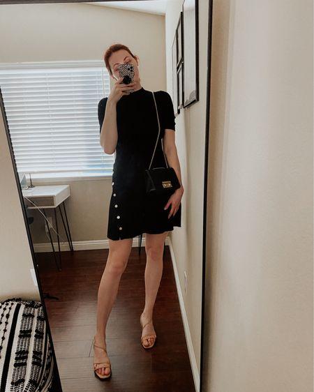Maje Rosea Stretch Knit Mini Dress with nude block heel sandals and a black Furla bag.   #LTKworkwear #LTKDay #LTKitbag http://liketk.it/3h9jG #liketkit @liketoknow.it
