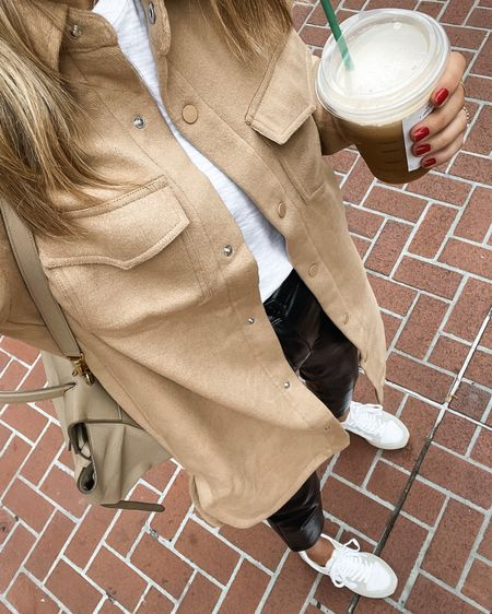 Love this long tan shacket! Perfect for fall #falloutfits #shacket   #LTKstyletip #LTKunder100 #LTKunder50
