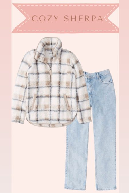 Sherpa pullover and jeans from Abercrombie on sale   #LTKsalealert #LTKSale #LTKstyletip