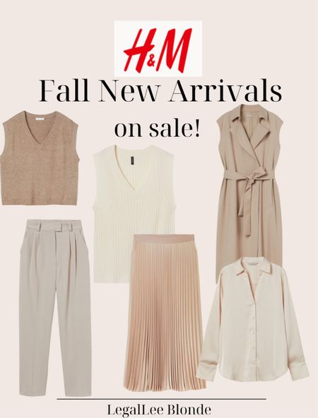 H&M fall finds! All of these are new arrivals but are on sale! - fall sweater - v-neck sweater vest - fall skirts - midi skirt - pleated skirt - trench dress - fall outfits - fall fashion   #LTKstyletip #LTKworkwear #LTKunder100