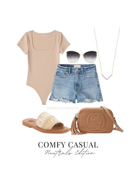 Comfy Casual Neutrals Edition Abercrombie & Fitch Bodysuit & Denim Shorts | Chloé Sandals | Gucci Soho Handbag | Quay Sunglasses | Jewelry    #LTKitbag #LTKshoecrush #LTKstyletip