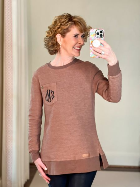 Fall outfit, corduroy top, long sweater, ribbed knit tunic, brown top, iPhone case, pop socket, faux leather leggings   This ribbed corduroy sweater is 22% off right now and comes in 6 color choices! It's monogrammed for free (or not) - you choose! I paired it with faux leather leggings.    #LTKSeasonal #LTKunder50 #LTKsalealert