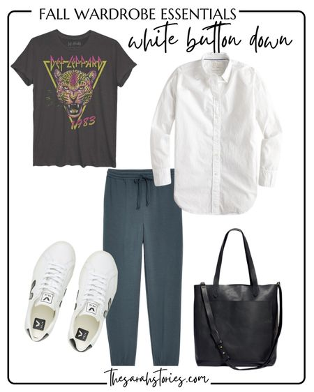 FALL ESSENTIALS : CLASSIC WHITE BUTTON SHIRT  // Fall outfit idea, Fall transition outfit, casual everyday outfit   #LTKstyletip #LTKunder100